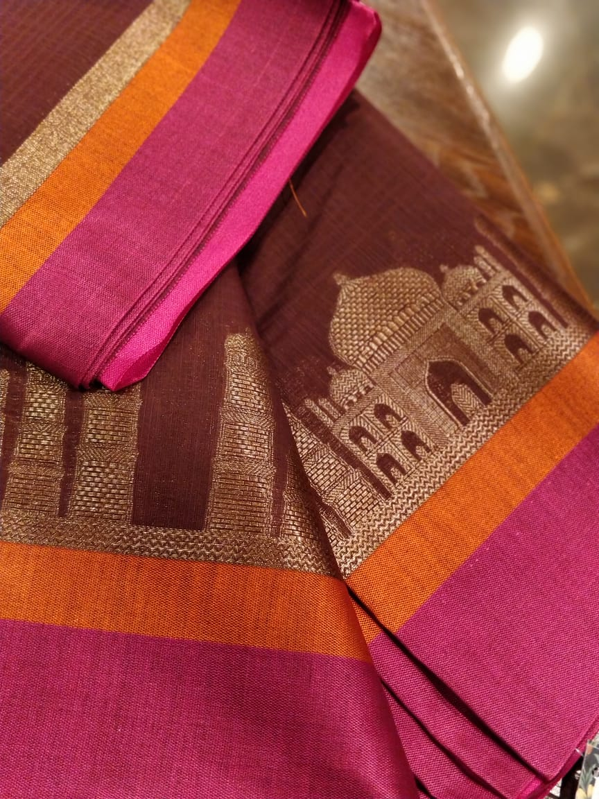 Tajmahal design woven in zari on brown chanderi saree- Sukoon - EthnicRoom