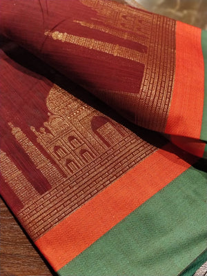 Tajmahal design woven in zari on maroon chanderi saree- Sukoon - EthnicRoom