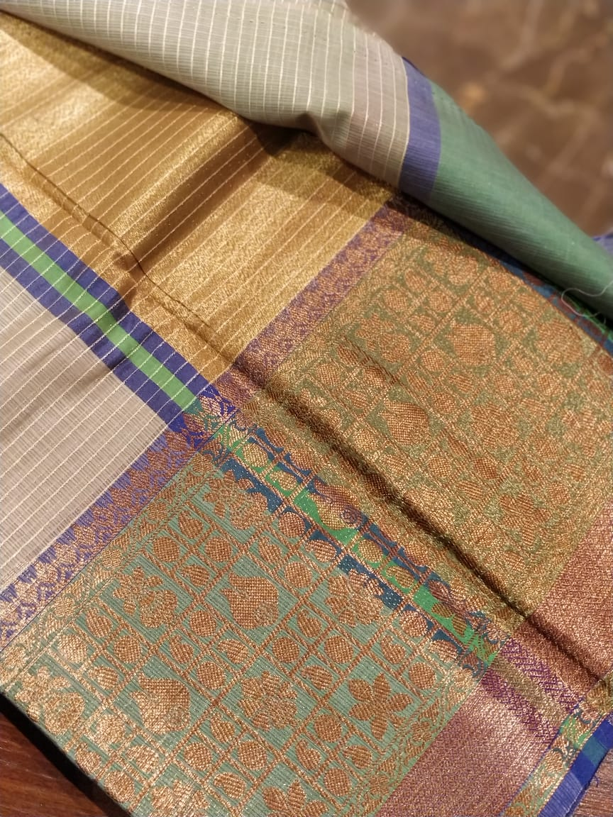 Gray striped saree with zari and green wide border - Sukoon - EthnicRoom