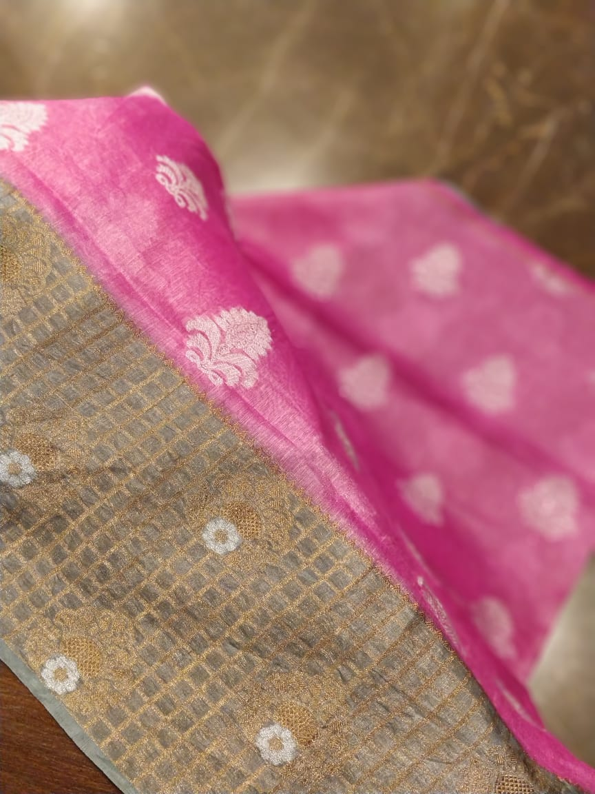 Linen silk win pink with wide gray border and silver booties- Sukoon - EthnicRoom