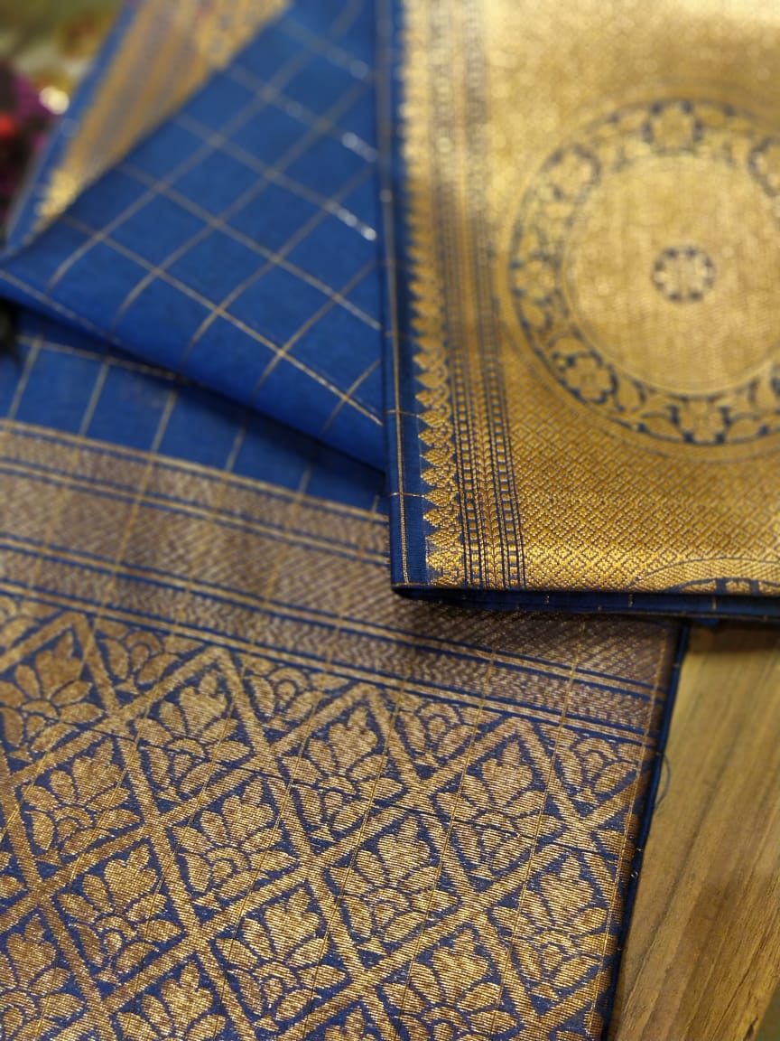 Wide golden border on royal blue chanderi with checks allover- Sukoon
