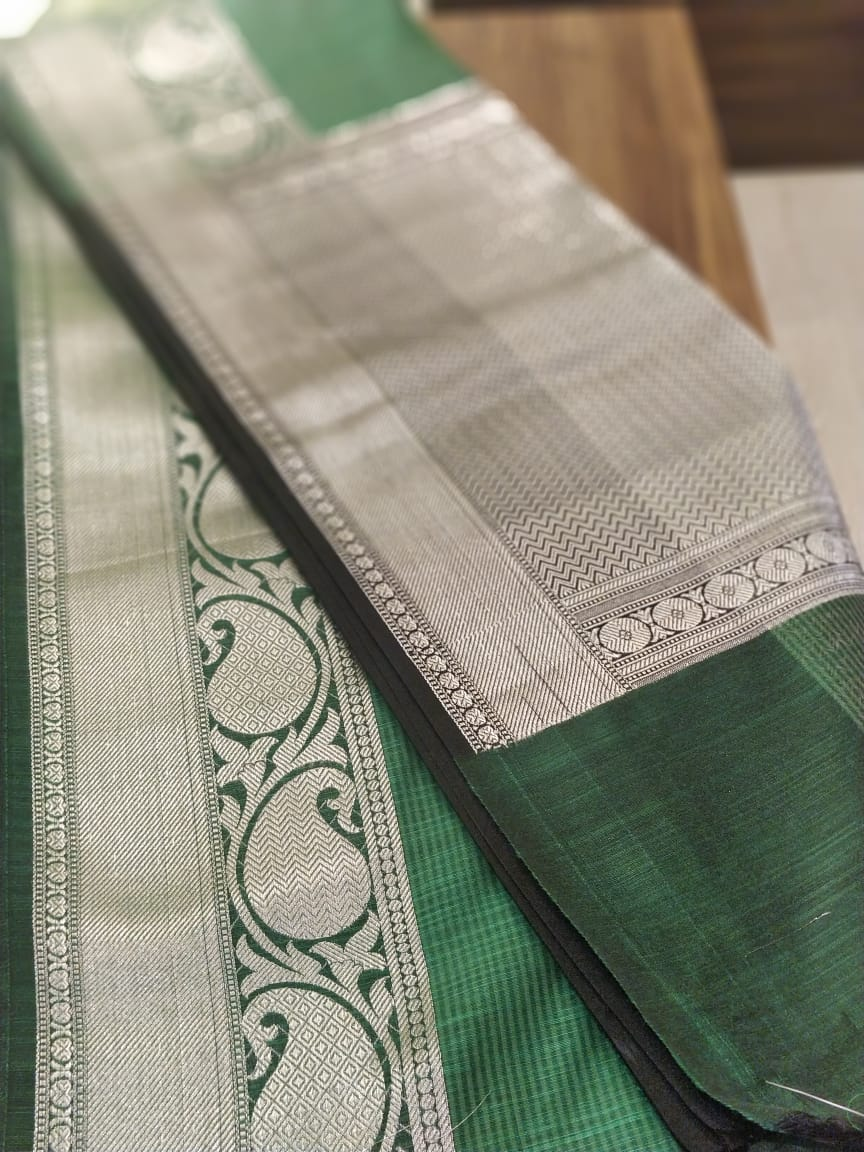 Bottle green with silver checks in cetre and silver zari aanchal and blouse- Noor - EthnicRoom