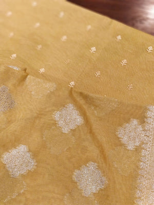 Zari woven organza dupatta with embroidered yellow chanderi kurta set