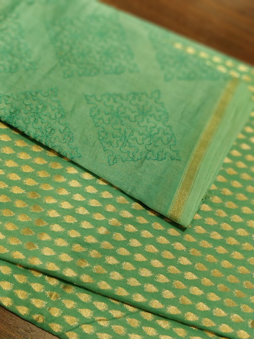 Embroidered dupatta with golden zari booties woven on green chanderi kurta - EthnicRoom