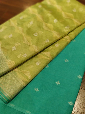 Bright green organza dupatta with dark green woven dyeable kurta - EthnicRoom