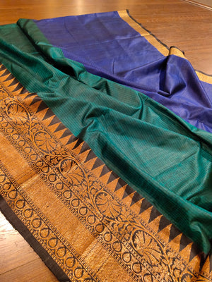 Horizontally divided in blue and green pure dupion silk with black zari border - EthnicRoom