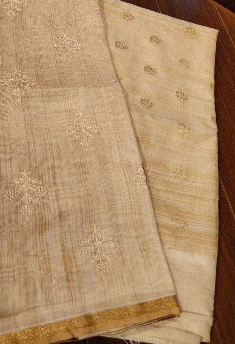 Embroidered cotton dupatta with cream woven chanderi suit material - EthnicRoom