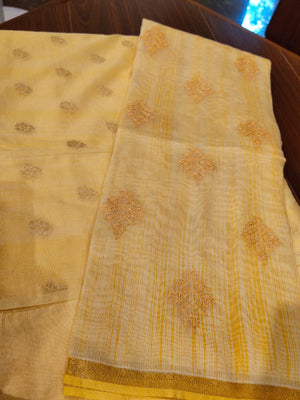 Yellow embroidered dupatta with woven chanderi suit dress material - EthnicRoom