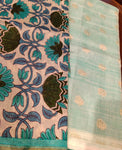 Floral printed dupatta with sky blue woven chanderi suit - EthnicRoom