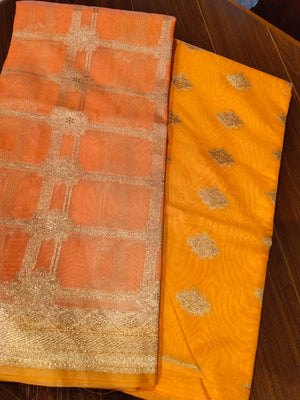 Pinkish orange organza dupatta with silver zari checks on orange zari kurta dress material - EthnicRoom
