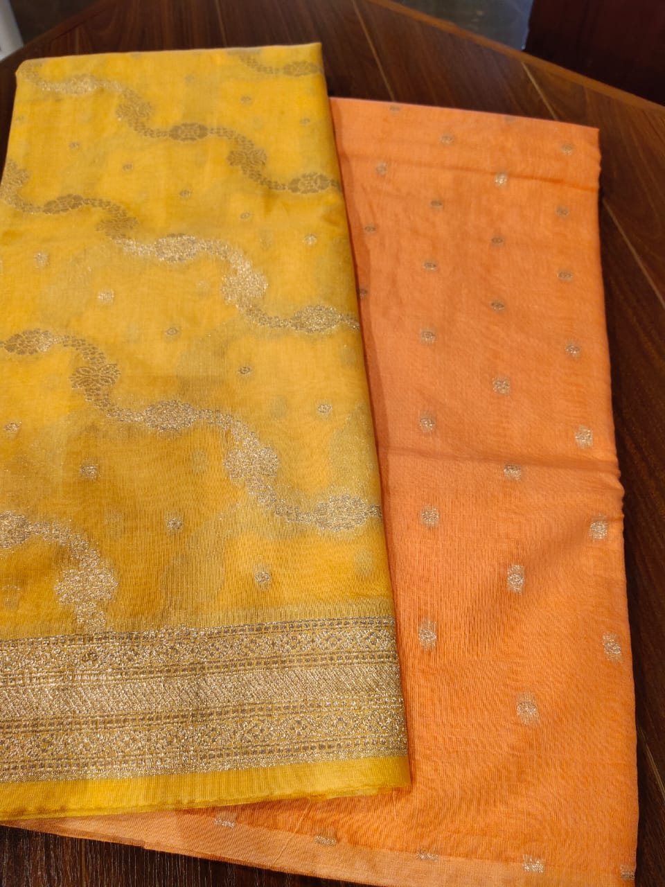 Dyeable yellow organza dupatta with orange zari kurta dress material - EthnicRoom