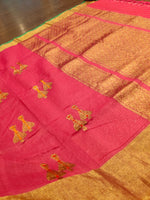 Jhumki zari motifs on pink pure cotton silk saree - EthnicRoom