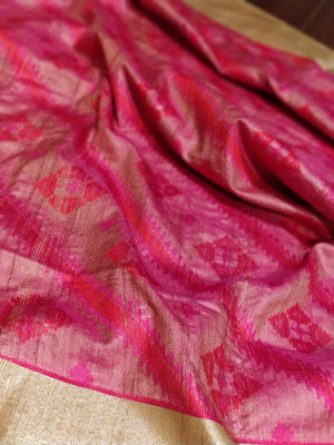 Pink and red pure katan monga silk with ikat design - EthnicRoom