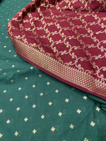 Dark green silk dupatta with maroon brocade suit material - EthnicRoom
