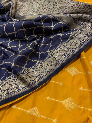 Navy blue brocade silk dupatta with mustard yellow suit material - EthnicRoom