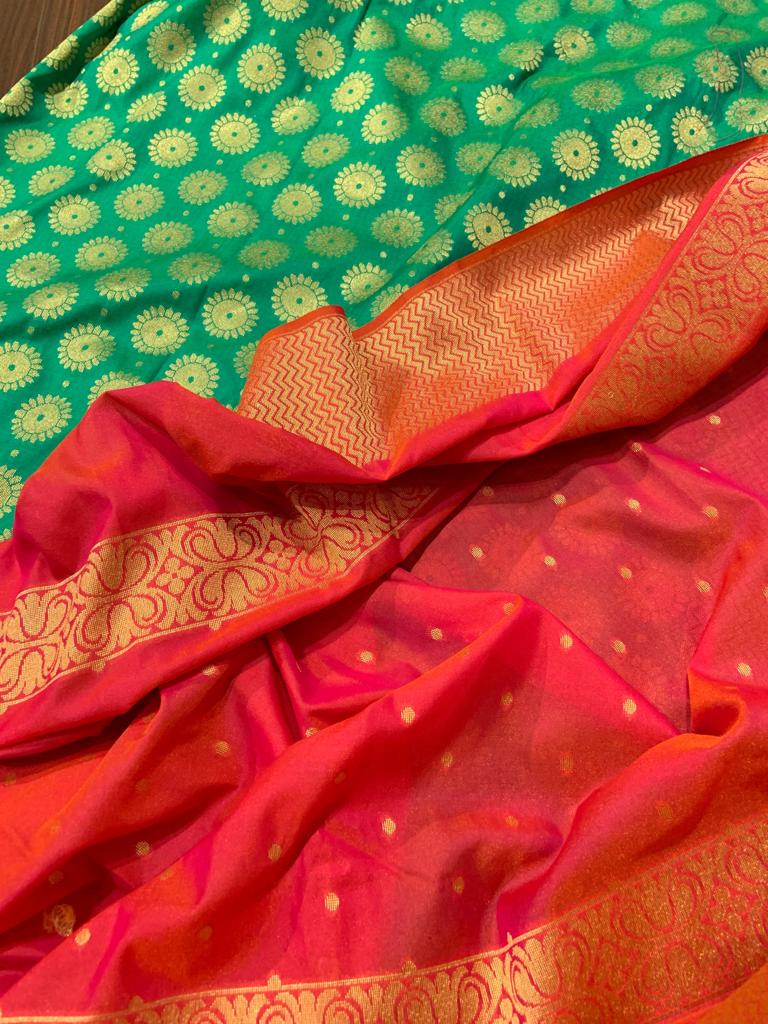 Reddish Orange silk dupatta with green brocade suit material - EthnicRoom