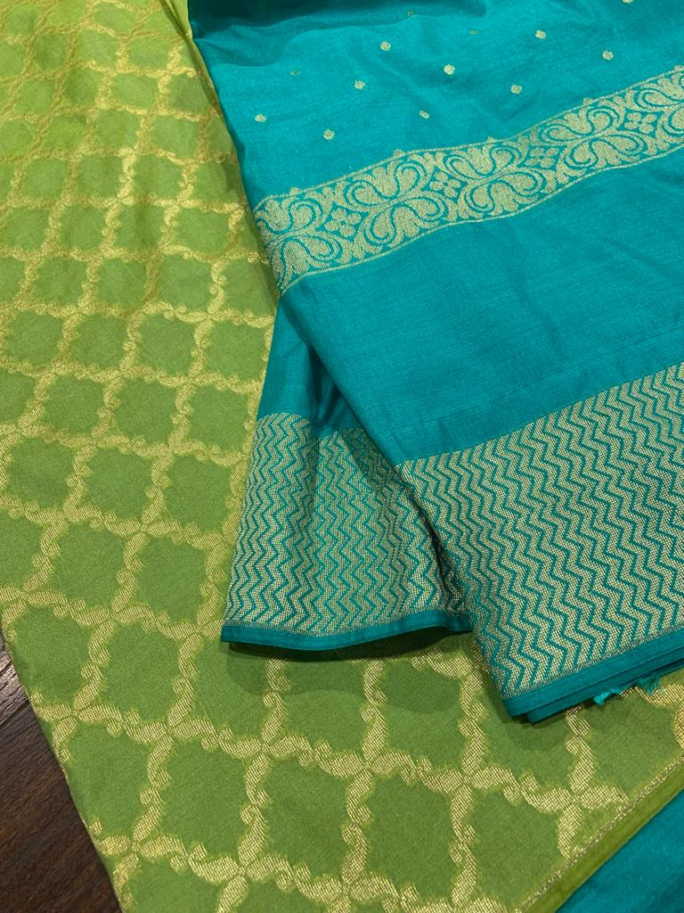 Blue dupatta with green brocade cotton silk suit material - EthnicRoom