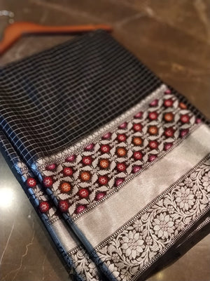 Small silver checks on black chanderi with multicolor flowers in border - EthnicRoom