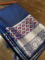 Small silver checks on royal blue chanderi with multicolor flowers in border - EthnicRoom