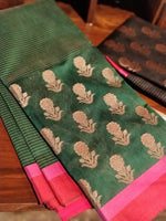Wide border of golden flowers on black chanderi saree & pink border - EthnicRoom