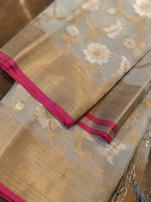 Zari kota with floral jaal allover on grey saree