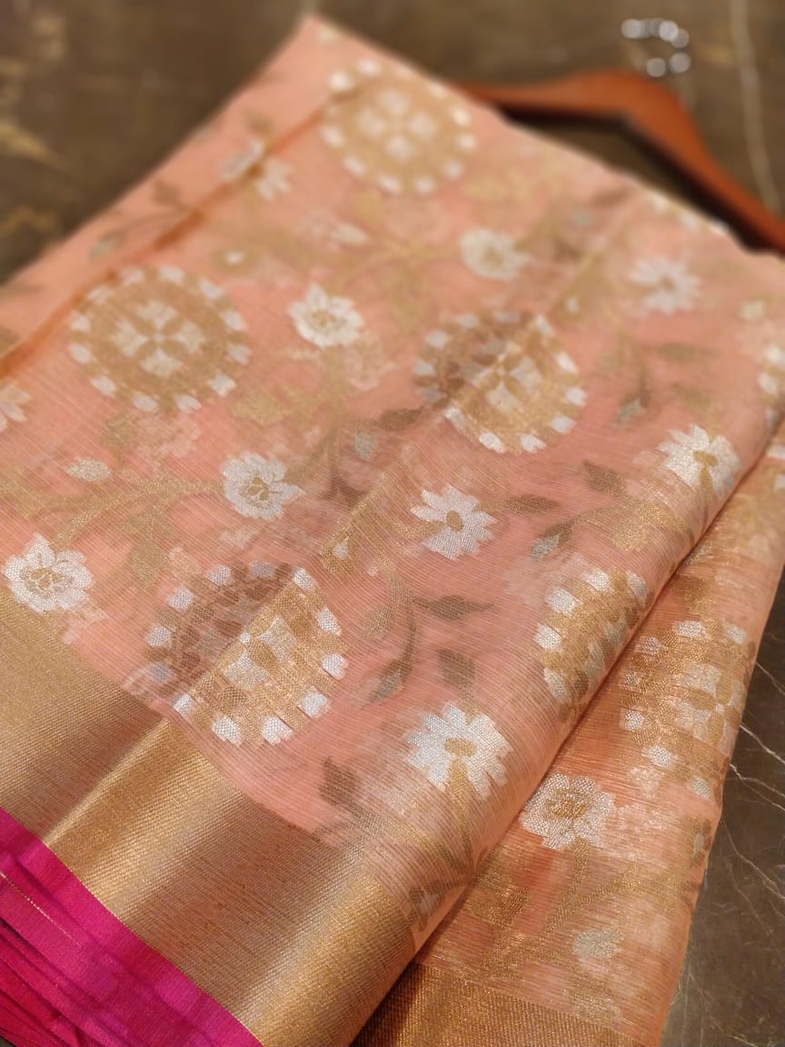 Silver & golden zari kota with floral jaal allover on peach saree