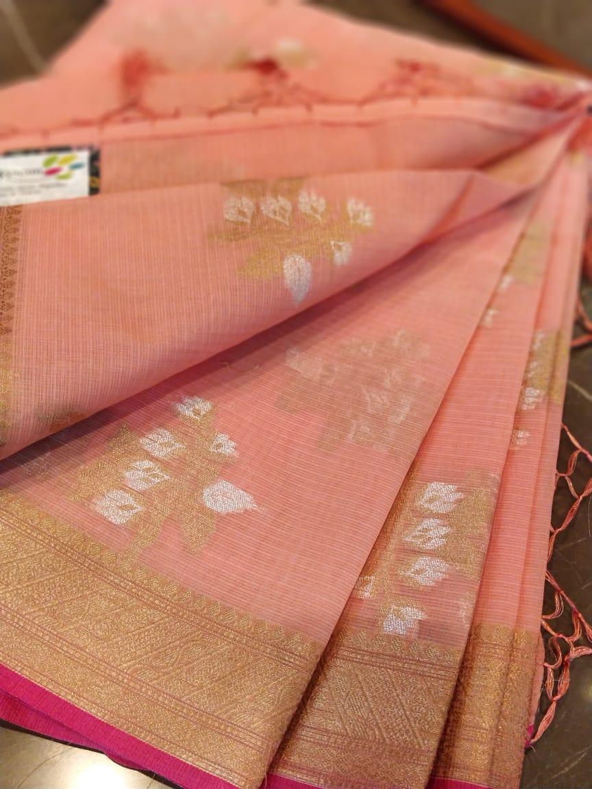 Golden & silver Zari kota with floral jaal allover on peach saree - EthnicRoom