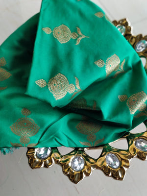 Golden booties on green blouse fabric BL103 - EthnicRoom