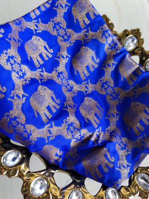 Jaal of horses and elephants on blue blouse fabric BL128A - EthnicRoom