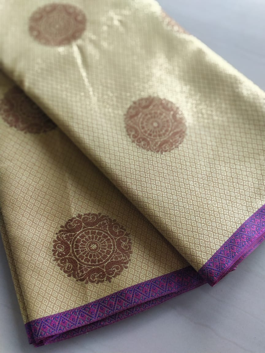 Tanchui Kora in golden mustard with golden circles allover- Tanchui - EthnicRoom