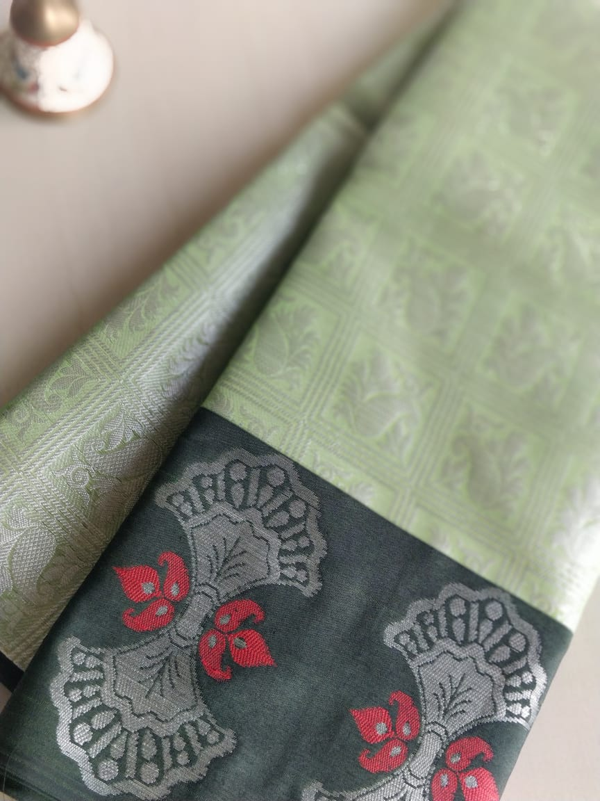 Tanchui green with silver and wide black border- Tanchui - EthnicRoom