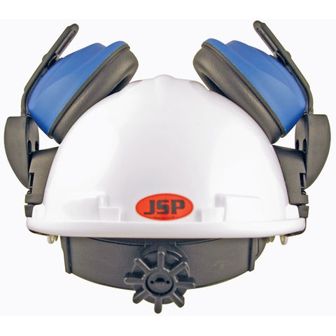 white helmet with mounted blue ear protectors