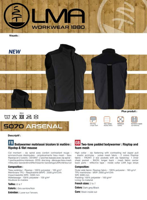 LMA Workwear Arsenal Two-Tone Padded Ripstop Bodywarmer