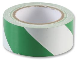 PVC Self Adhesive Floor Marking Tape Green/White 50mm x 33mtr