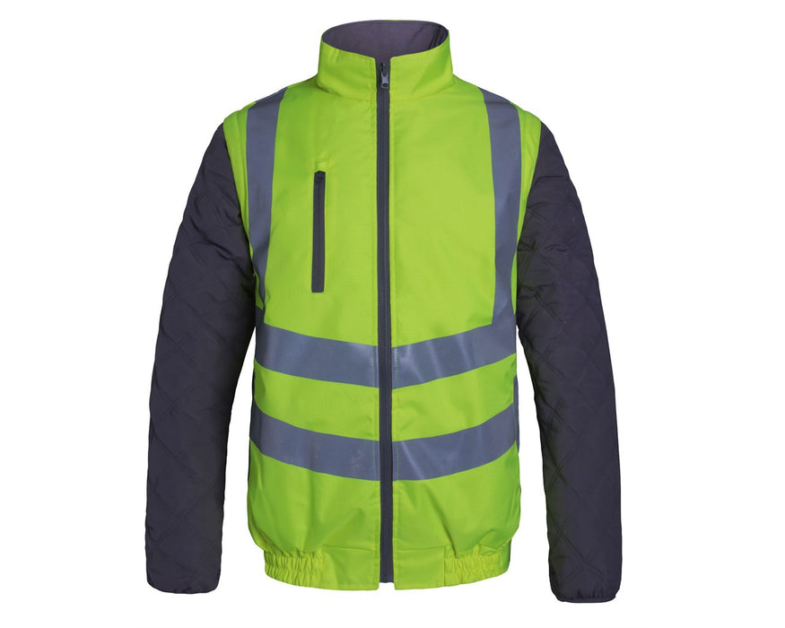 High Visibility Detachable Sleeved Rip Stop Bodywarmer Yellow