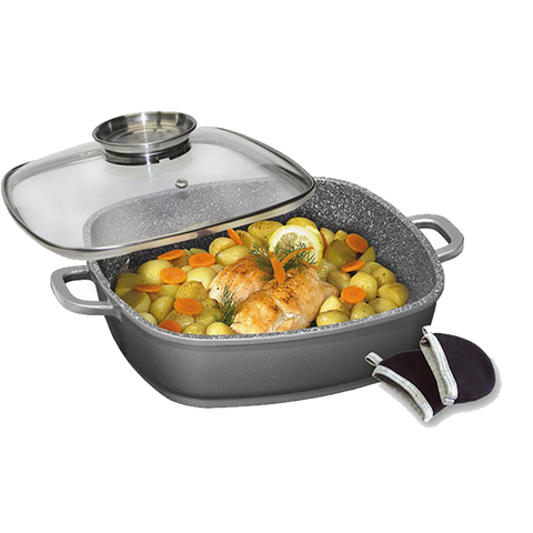STONELINE® 28cm Serving Pan with Glass Lid