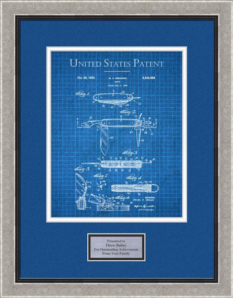 Blue Mat with Silver Frame
