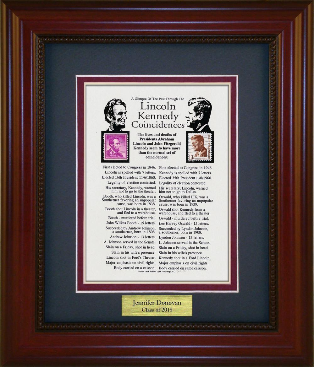Lincoln / J.F.K. Coincidence - Personalized Unique Framed Gift