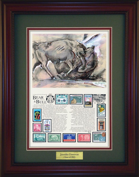 Wall Street- Unique Framed CollectibleBull & Bear - Personalized Unique Framed Gift