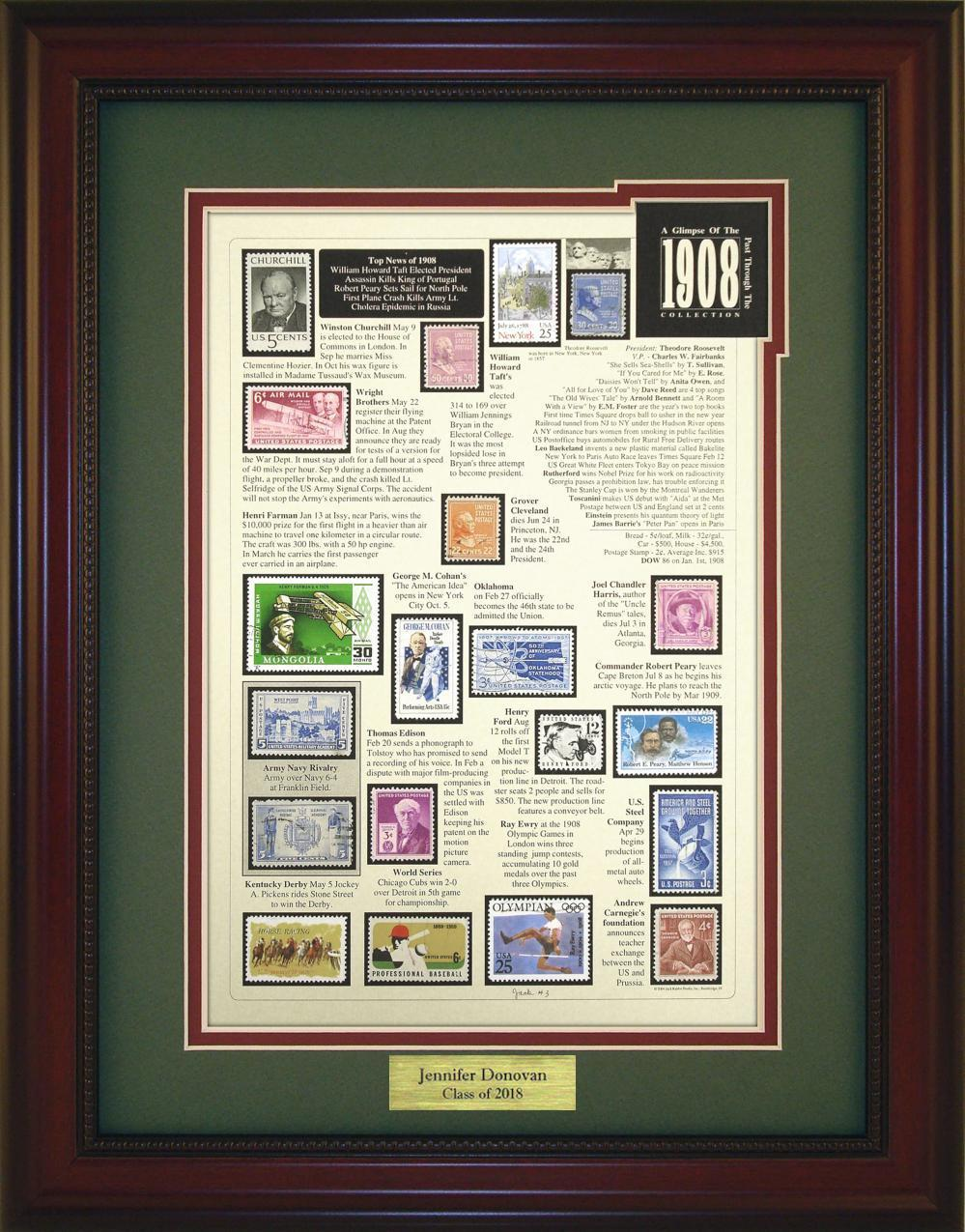 Year 1908 - Personalized Unique Framed Gift