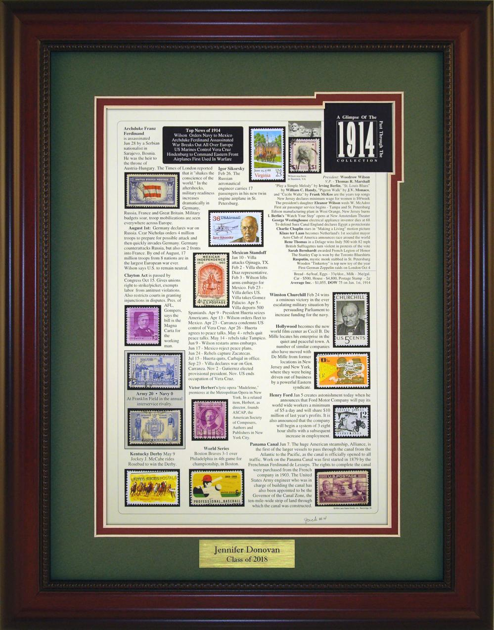 Year 1914 - Personalized Unique Framed Gift