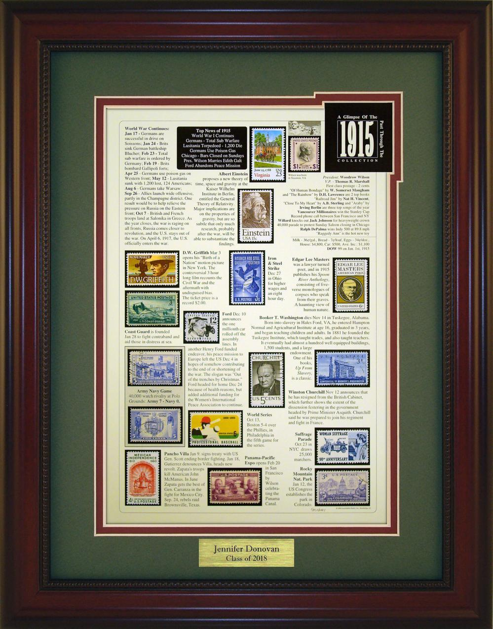 Year 1915 - Personalized Unique Framed Gift