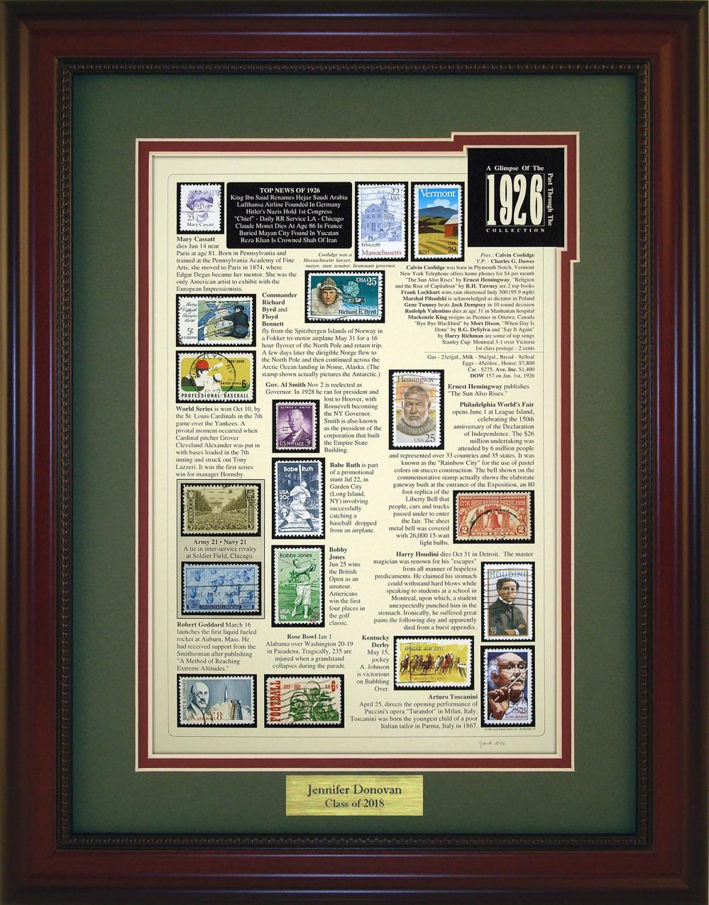 Year 1926 - Personalized Unique Framed Gift