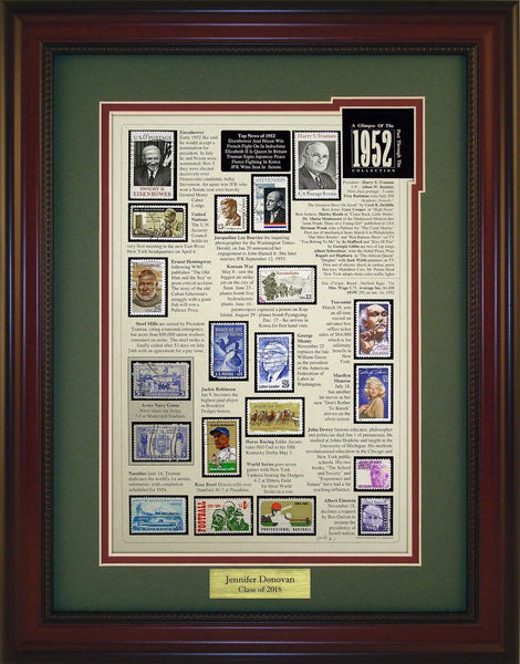 Year 1952 - Personalized Unique Framed Gift