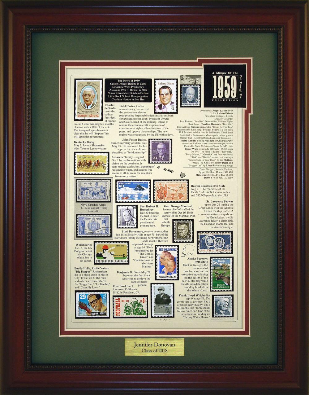 Year 1959 - Personalized Unique Framed Gift