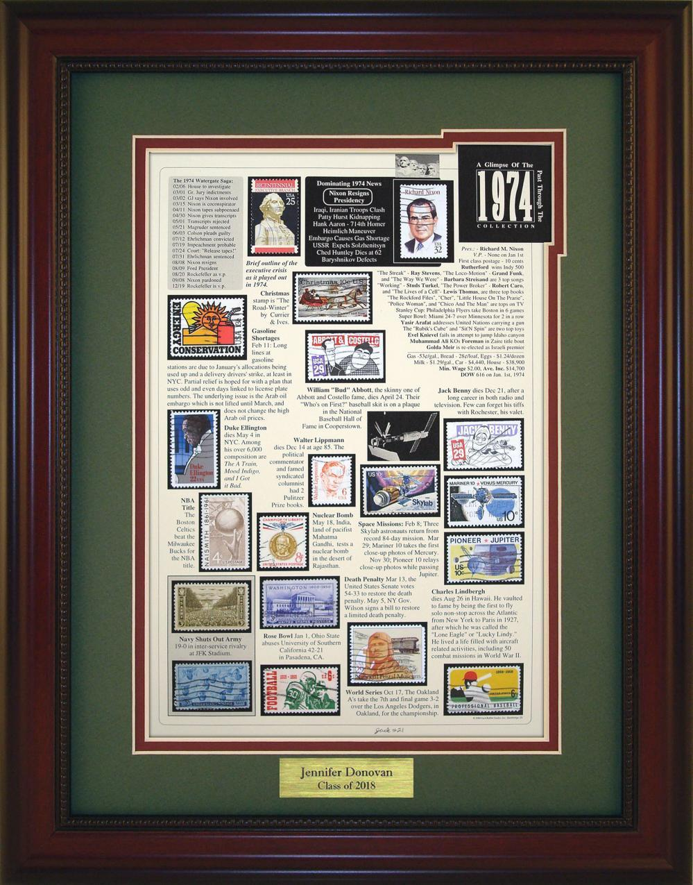 Year 1974 - Personalized Unique Framed Gift