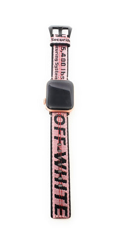 Custom Off White Apple Watch Band Pink 38mm/40mm - Krispy Soles