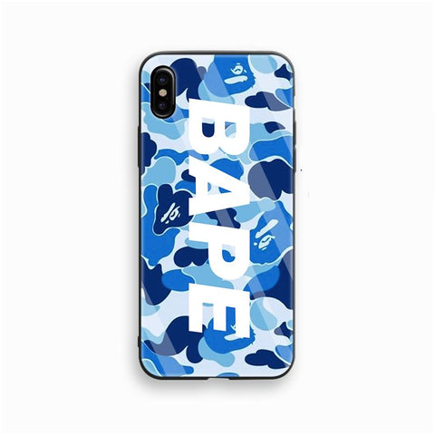 Bape Camo Logo Blue Glass Case - Krispy Soles