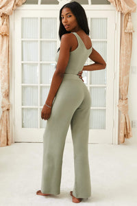 Olive Comfy Chic Ribbed Crop Top and Flared Trousers Set