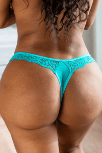 Teal Floral Lace Thong